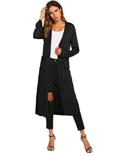 Locryz Womens Long Sleeve Open Front Soft Long Duster Cardigan with Pockets (XXL, - Cardigan Summer Long