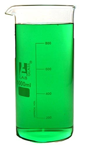 200 Forms - 1000ml Beaker; Tall Form; Borosilicate Glass w/ Spout - 200ml Graduations - Eisco Labs