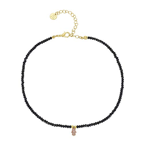 Jules Smith Onyx Stone Choker Necklace for Women - Delicate Faceted Stone Choker - Dainty Sexy Onyx Choker Necklace with Pave CZ Crystal Hamsa Hand Charm and 14K Gold Plated Clasp - Large Faceted Onyx Stone
