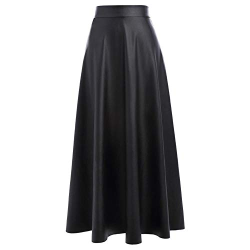(Sexy High Waist Synthetic Leather Womens Skirts Women Long Skirt Red Black Vintage Pleated Skirt,Black Skirt 1,L)