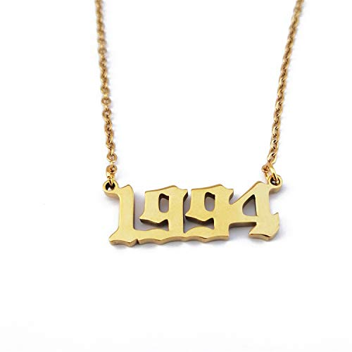 "HUTINICE Gold Plated Birth Year Number Pendant Necklace Charm Friendship Jewelry 18"" Chain (Gold Color, 1994)"