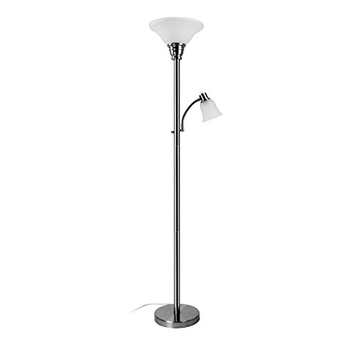 Oneach Metal Modern Torchiere Floor Lamps 150-Watt light 71-Inch with Adjustable Reading Side Arm Lamp with Frosted White Glass Shade for Living Bedroom Room