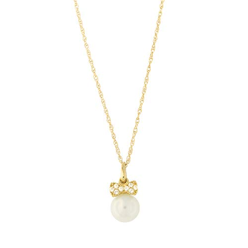 14k Yellow Gold Tiny Cubic Zirconia Bow 6mm Freshwater Cultured Pearl Pendant Necklace, 22""