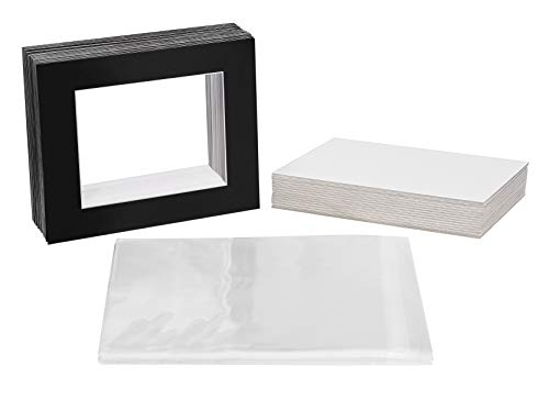 Golden State Art, Pack of 25 Black Pre-Cut 16x20 Picture Mat for 11x14 Photo with White Core Bevel Cut Mattes Sets. Includes 25 High Premier Acid Free Mats & 25 Backing Board & 25 Clear Bags