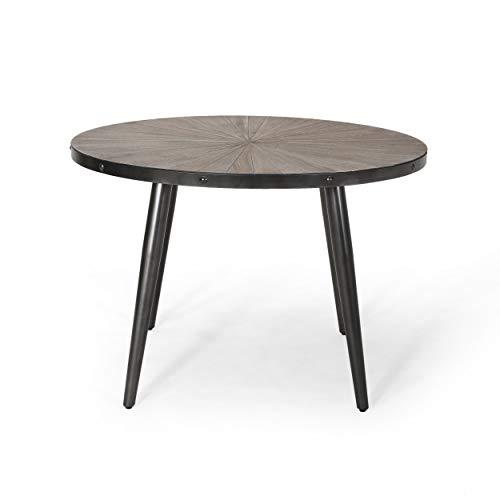 Debby Round Dining Table with Elm Veneer Top, Weathered Elm and Gun Metal