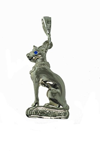 Egyptian Egypt Bast Sapphire Eye Cat pendant charm Sterling Silver 925 Jewelry - Egypt Charm Jewelry