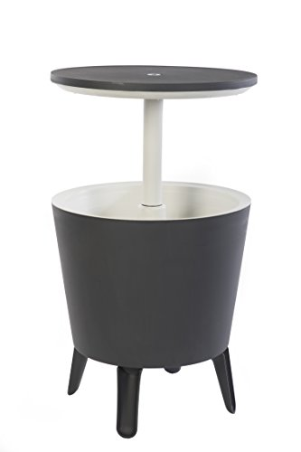 - Keter 7.5-Gal Cool Bar Modern Smooth Style with Legs Outdoor Patio Pool Cooler Table, Grey
