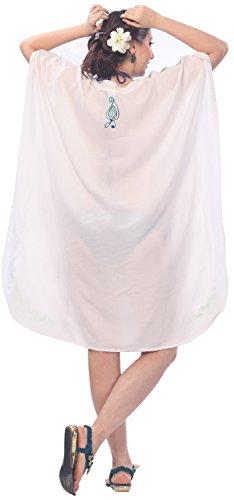 La Leela rajar el cuello bordado vestido de noche más corta del tamaño caftán rayón viscosa encubrir primeras mujeres túnica blanca