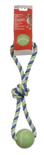 72393 Dogit Striped Cotton Loop Tug with 2 Tennis Balls, Multi, 18-Inch ()