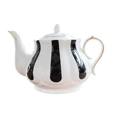 lish Afternoon Tea Set Teapots Bone Porcelain Wave Point Stripe Hand Painted Gold Pot Creative Coffee Pot Simple Kettle: B style ()