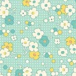 HENRY GLASS & CO. Nana Mae II 1930's Reproduction Floral Dot Quilt Fabric Style 6919/60 Aqua -
