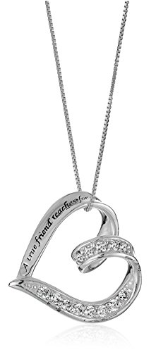 """Sterling Silver Cubic Zirconia Ribbon """"A True Friend... Touches Your Heart"""" Pendant Necklace, 18"""""""