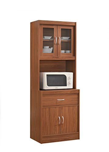 Hodedah Long Standing Kitchen Cabinet with Top & Bottom Enclosed Cabinet Space, One Drawer, Large Open Space for Microwave, Cherry (Microwave Carts With Hutch)