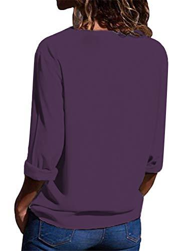 V Donna Bluse Tunica Camicia Viola Top Lunghe Chiffon Casuale Elegante Camicetta Oversized Scollo Blusa Moda Maniche Minetom Cwqvdzd