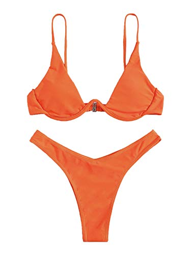 Verdusa Women's Sexy Triangle Bathing Two Pieces Swimsuit Bikini Set Orange S ()