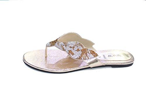 Abendmode W Gold Sandalen Damen Wohnungen UK W SAN4043 Walk Wear Hochzeitsgesellschaft Diamante Damen qA1Sgx8