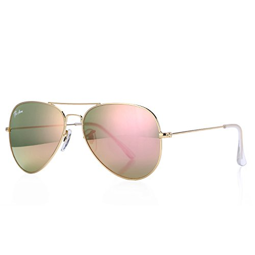 Pro Acme Aviator Crystal Lens Large Metal Sunglasses (Gold Frame/Crystal Pink Gold Mirrored Lens) - Metal Logo Aviator Sunglasses