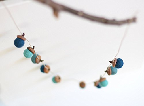 Garland Acorn (Felted Acorn Garland - Sea)