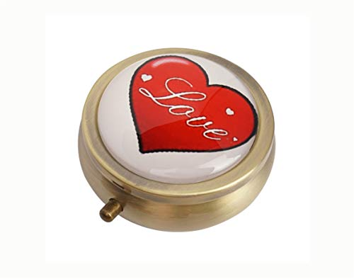 Baoquan Custom Round Bronze Glass Pill Case Medicine Vitamin Organizer Pocket Decoration Gift (Day of Love Valentin's Day Heart of Hearts Style)