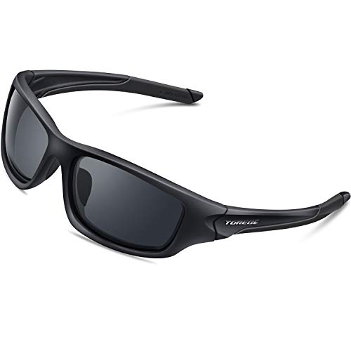 TOREGE Polarized Sports Sunglasses for Man Women Cycling Running Fishing Golf TR90 Unbreakable Frame ()