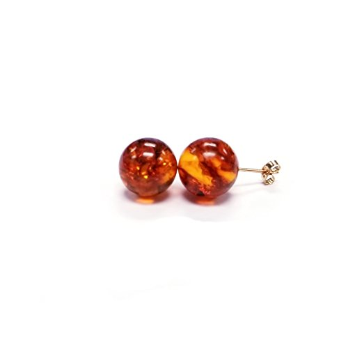 14K Yellow Gold 10mm Genuine Amber Round Stud Earrings