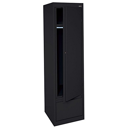 Wardrobe Single (Sandusky Lee HAWF171864-09 System Series Single Door Wardrobe with File Drawer, Black)