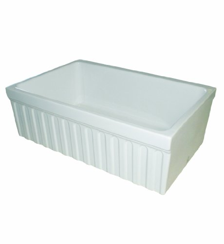 Whitehaus WHQ330-WH Farmhaus Quatro Alcove 30-Inch Reversible Fireclay Sink with Fluted Apron ()