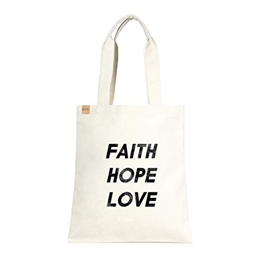 Me Plus Eco-Friendly Canvas Printed Fashion bags/Travel Shoulder Tote Bag/Shopping,School and Office use (Faith hope Love)