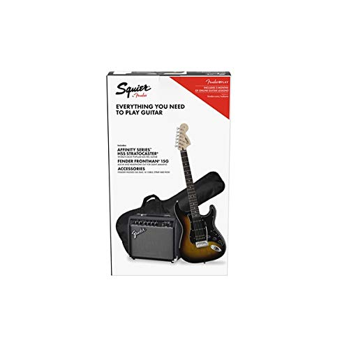Squier by Fender Stratocaster Beginner Pack, Laurel Fingerboard, Black, with Gig Bag, Amp, Strap, Cable, Picks, and Fender Play