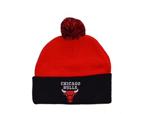 Adidas Chicago Bulls 2-Tone Black Cuff Beanie Hat with Pom - NBA Knit Cuffed Toque Cap