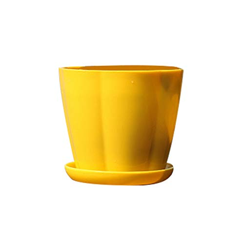 Garden Succulent Plant Ceramic Pots, Pumpkin Shape Plastic Imitation Porcelain Flower Pot Succulent Garden Planter - Yellow ()