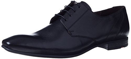 Lloyd Mens Black Powell Leather Derby Shoes-UK - Dolce Cabana