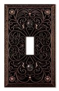 Filigree Single-Toggle Switch Plate in Aged Bronze Antique Bronze Wall Plate