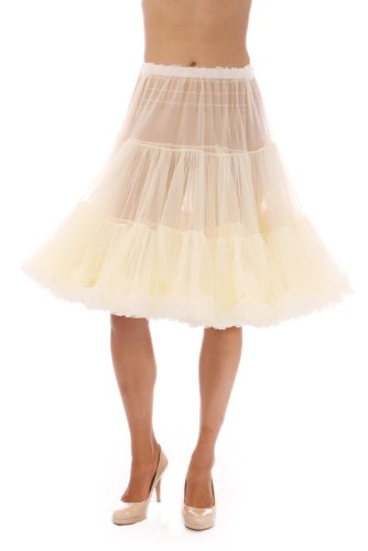 Malco Modes Jennifer Luxury Vintage Knee-Length Pettiskirt, Child Tutu for Costumes or Everyday Clothes, Natural, ()