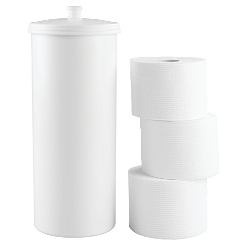 InterDesign Kent Free Standing Toilet Paper Holder – Spare Roll Storage for Bathroom, White