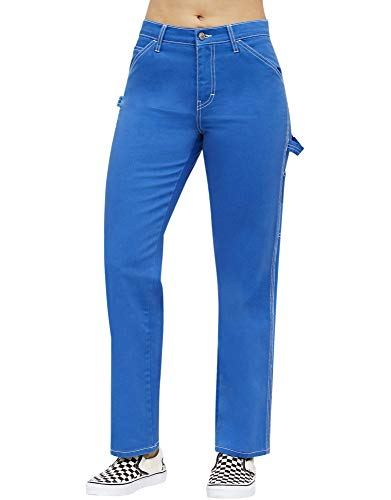 Dickies Girl Juniors' Relaxed Fit High-Rise Twill Carpenter Pants (Blue, 7) -