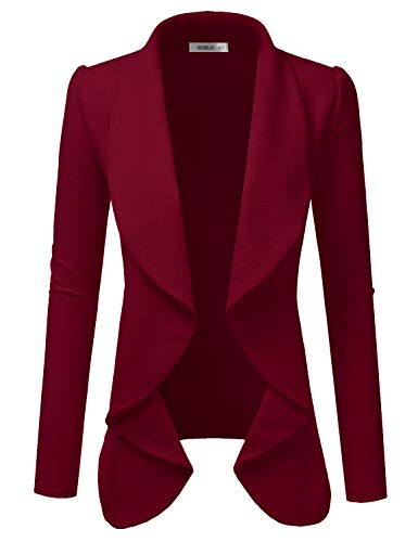 DOUBLJU Classic Draped Open Front Blazer for Women with Plus Size Burgundy Medium
