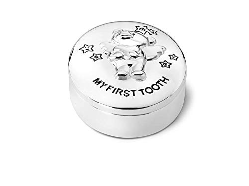 Zilverstad 7825261 Keepsake Pot My First Tooth with Bear Twinkle Design 5.5 x 4.5 cm Tarnish-Proof Silver-Plated