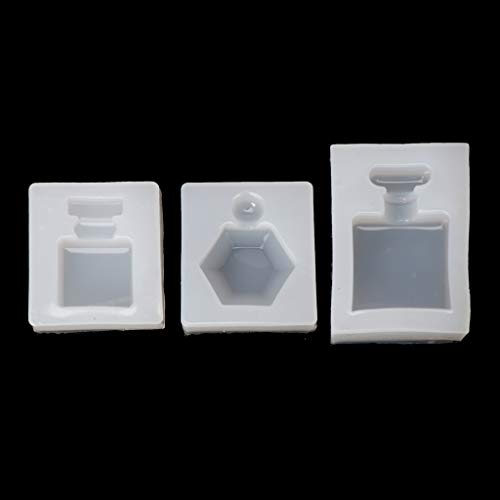(Cicitop 3Pcs Perfume Bottle Silicone Epoxy Resin Mold Pendant Candy Chocolate Cake Mould Resin Jewelry Molds)