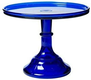 """product image for 10"""" Cobalt Blue Glass Bakers Cake Stand Plate"""