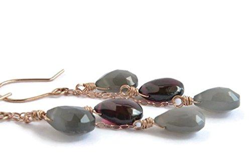 Gray Moonstone and Garnet Earrings, 14K Rose Gold (14k Rose Gold Moonstone Earrings)