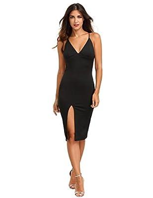 MakeMeChic Women's Sexy Backless Sleeveless Spaghetti Strap Dress