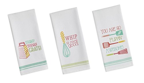 DII Flour Sack Printed Funny Quote Dishtowel Set of 3 Tea Towels