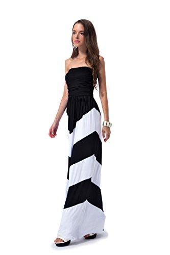 Charm Your Prince Women's Sleeveless Summer Chevron Empire Maxi Dress Black and White XXL -