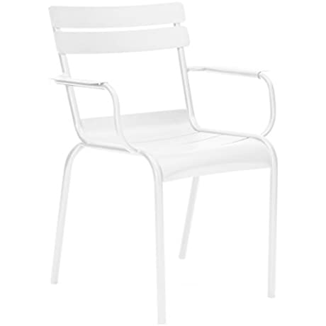Design Lab MN Chatou Stackable Metal Arm Chair Set Of 4 White