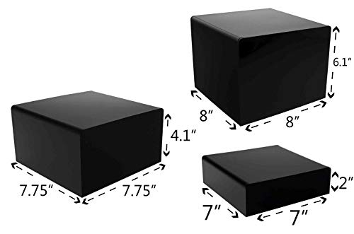 Marketing Holders Cube Display Nesting Risers Showcase Collectables Pedestald for Trinkets Figurines Trophy Dolls Hollow Bottoms Acrylic Black Pack of 3 by Marketing Holders (Image #7)