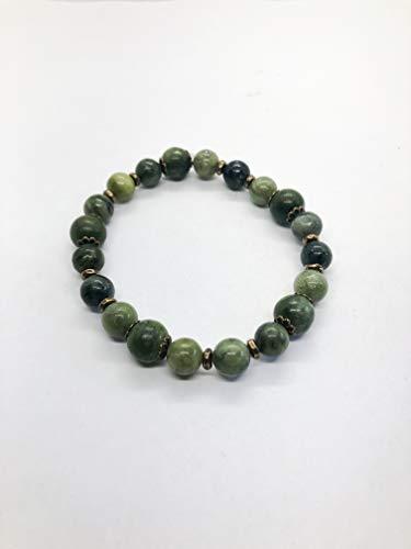 - Jasper Gemstone Boho Bracelet - Saguaro Green Jasper Rondelles - Boho Style - Brass Disc Spacers - Sm/Med 7.5