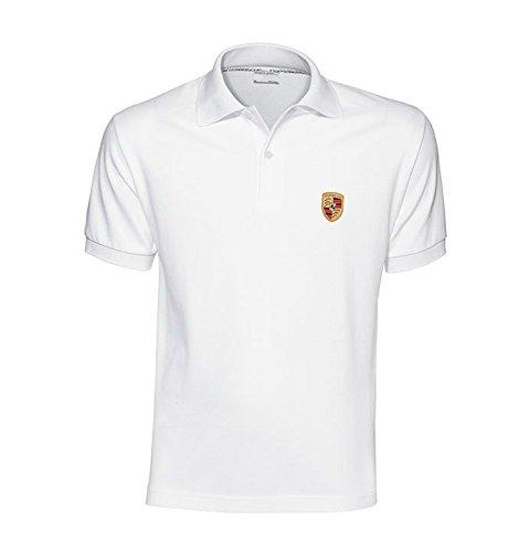 Genuine Porsche Crest Men's Polo Shirt - White - U.S. Size Extra - Golf Shirt Porsche