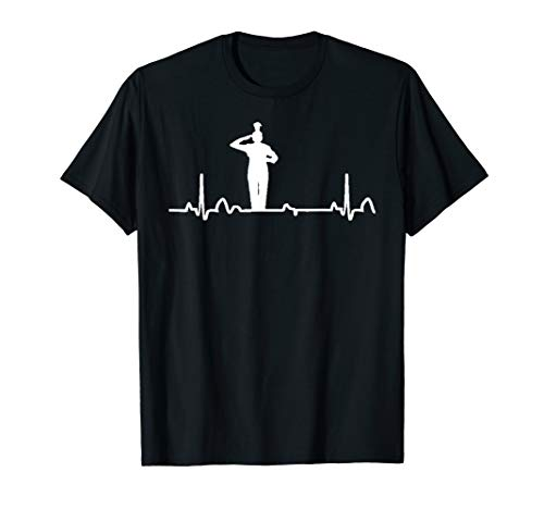 Drum Major Heartbeat Shirt Marching Band Apparel Tee ()