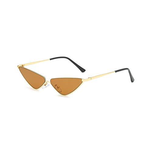 Retro Small Cat Eye Sunglasses For Women Brand Designer Metal Half Frame Shade Triangle Eyeglasses Vintage Cateye Sun Glasses ()